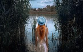 Picture girl, river, dress, hat, Mikhail Potapov