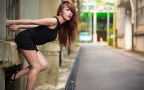 Picture girl, face, pose, street, dress, brown hair, legs