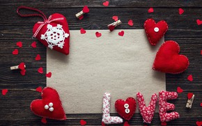 Picture love, heart, hearts, red, love, heart, wood, romantic, Valentine's Day, decoration