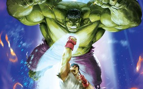 Picture game, Hulk, big, cartoon, Marvel, fight, punch, Street Fighter, Ryu, kimono, strong, combat, shoryuken