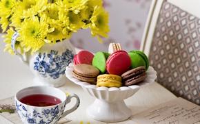 Picture letter, flowers, tea, colorful, cookies, chrysanthemum, dessert, flowers, background, sweet, dessert, tea, cookies, macaron, macaron