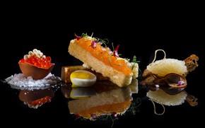 Picture egg, bread, caviar, appetizer