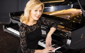 Wallpaper dress, piano, pianist, beauty, Olga Kern, Steinway & Sons, Olga Kern, Russia, smile, black, blonde, ...
