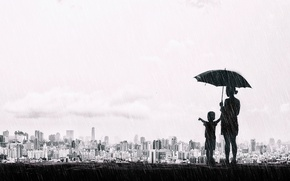 Picture the city, umbrella, rain, mood, boy, black and white, panorama, Taiwan, monochrome, child, mother, Taichung