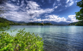 Wallpaper clouds, branches, HDR, forest, greens, Lake Bled, lake, island, Slovenia, the bushes, shore, trees, home, ...