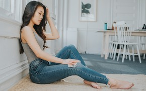 Picture girl, jeans, legs, sitting