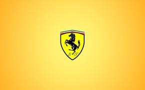 Picture yellow, logo, Ferrari, Ferrari, fon, grebes