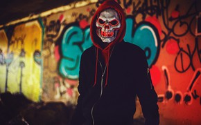 Picture mask, male, hood, skull