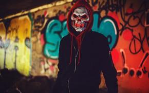 Wallpaper mask, male, hood, skull