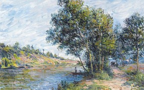 Picture trees, landscape, river, picture, Alfred Sisley, Alfred Sisley, The road in Vienna-Les-Sablons