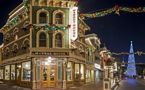 Picture Park, street, tree, new year, CA, Disneyland, garland, California, Disneyland, Anaheim