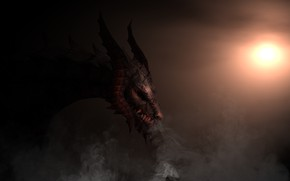 Picture the sun, background, dragon, smoke