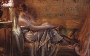 Picture girl, brooding, Delphin Enjolras, Academism, In the light of the lamp