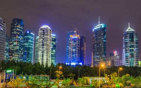 Picture Night, The city, Skyscrapers, China, Landscape