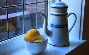 Wallpaper window, bowl, lemons, still life, kettle