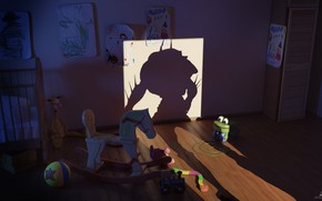 Picture toys, shadow, the room, nightmare, final render