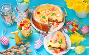 Picture eggs, Easter, cake, daffodils, serving