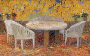 Picture table, picture, Henri-Jean Guillaume Martin, Henri Matrin, Under A Large Chestnut Tree