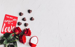 Picture candy, Roses, Ring, Holiday, Postcard, Valentine's day