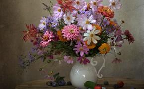 Picture zinnia, autumn, plum, kosmeya, asters, bouquet, calendula
