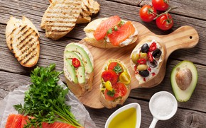 Picture food, bread, olives, avocado, sandwiches, salmon, tomatoes-cherry