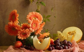 Picture fabric, gerbera, grapes, apples, fruit, still life, berries, melon, Board, flowers, vase