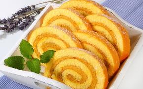 Picture mint, cream, dessert, roll