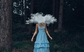 Picture forest, girl, cloud, dress, Bird Man