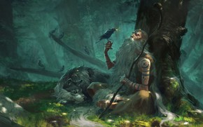 Picture forest, fantasy, art, the elder, the hermit, Manuel Castañón, Little gifts