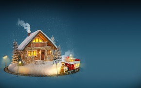 Wallpaper winter, Christmas, house, snow, merry christmas, New Year, decoration