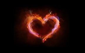Picture background, fire, heart, neon, colorful, fire, heart, pink, neon