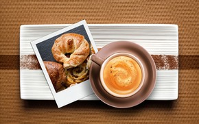 Picture photo, coffee, Cup, drink, cappuccino, the view from the top, croissant