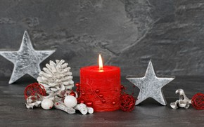 Picture star, new year, candles, bumps, decor