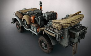 Picture machine, art, Matthias Develtere, SCI-FI WW2 Jeeps