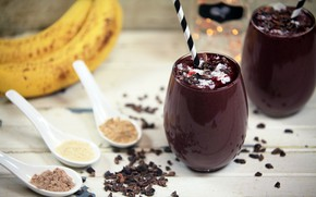 Picture chocolate, bananas, drink, smoothies with yogurt