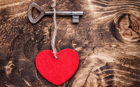 Picture love, romance, heart, key, red, love, heart, wood, key, romantic