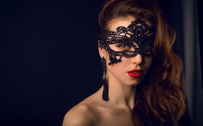 Picture girl, Model, green eyes, long hair, style, photo, lips, face, brunette, look, mask, portrait, mouth, …