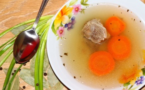 Picture table, spoon, soup, meat, broth