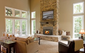 Picture room, Villa, interior, fireplace, living room
