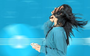 Picture girl, music, background, blue, photoshop, headphones, brunette, jacket, player, wire