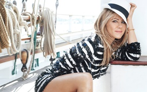 Picture pose, model, hat, yacht, dress, actress, hairstyle, blonde, ropes, Jennifer Aniston, Jennifer Aniston, photoshoot, Marie …