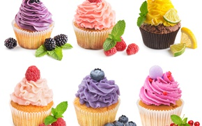 Picture berries, raspberry, lemon, food, blueberries, lime, mint, cream, cakes, BlackBerry, slices, sweet, cupcakes, red currant