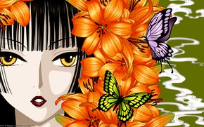 Wallpaper butterfly, girl, anime, face, xxxHolic, art, Lily, flowers