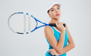 Picture girl, pose, background, sport, racket, cap, athlete, uniform, tennis