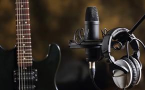 Picture music, guitar, headphones, sound, electro, microphone, creativity, Studio