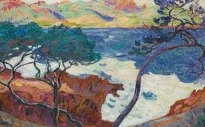 Picture sea, landscape, mountains, tree, rocks, picture, Arman Hyomin, Armand Guillaumin, Aga