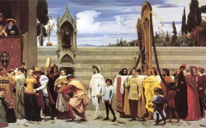 Picture antique, The celebration, Frederic Leighton, Carried in Procession, Cimabue-s Madonna big, Neoclassicism