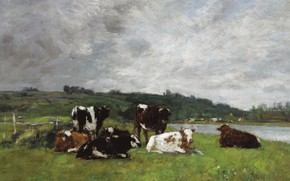 Picture animals, picture, Eugene Boudin, Cows on Pasture, Eugene Boudin