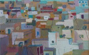Picture the city, graphics, home, Painting, colorful, district, Svetlana Nesterova