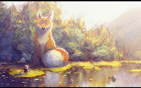 Picture pond, Fox, hunting, the bushes, art, huge, Indian, Gop gap